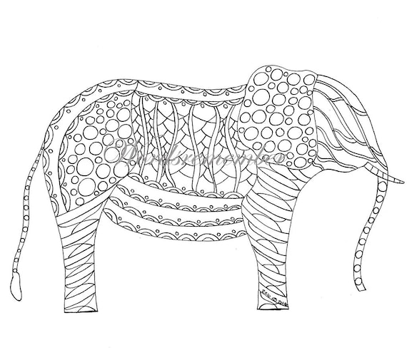 Adult Coloring Page Elephant Coloring Page Jungle Party