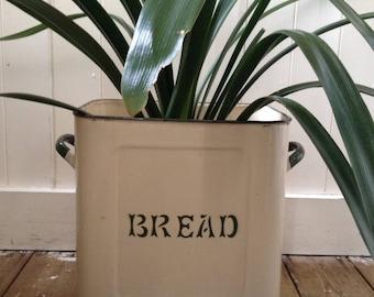 Vintage enamel bread bin, cream and green, 1930's