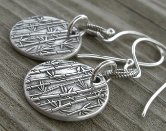 Sterling Silver Bamboo Link Coin Earrings PMC
