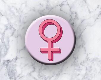 "FEMINISM - 1.25"" Pinback Button - Girl Power"