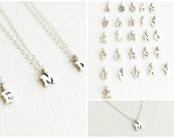 Block Letter Necklace In Sterling Silver, Silver Block Initial Necklace, Childrens Necklace, Gift For Mom, Birthday Gift, Tiny Initial Charm