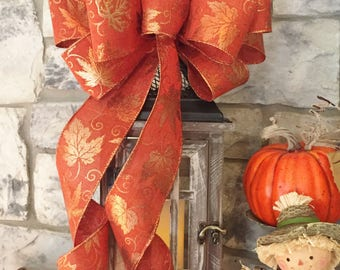 Fall Thanksgiving~Wired Edge Ribbon Bow for Wreath, Swag, Lantern~Autumn Decor~Timeless Floral Creations~Free Shipping