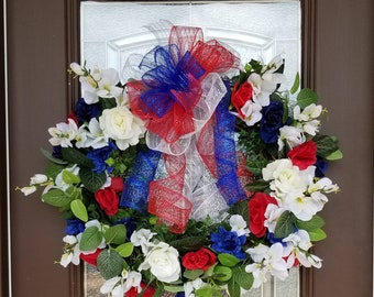 Patriotic Grapevine Wreath, July 4th, Memorial Day, Veterans Day, Red White and Blue Wreath, Flag Colors Wreath, Patriotic Colors.