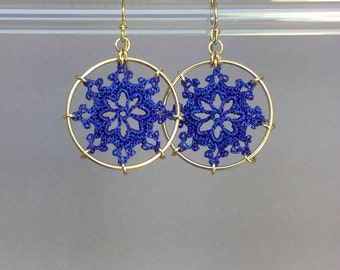 Nautical doily earrings, blue hand-dyed silk thread, 14K gold-filled