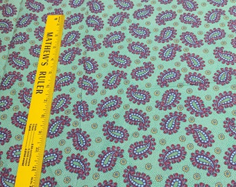 Paisley on Green Cotton Fabric