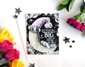Dream Big Little One, Baby Shower Card, New Mom Gift, New Mother, New Mommy Gift, Baby Gift Card, Chalkboard Card, Chalkboard Art, Chalk