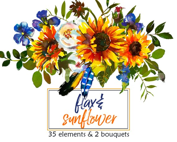Boho Sunflower Watercolor Clipart Flax Sunbeam Yellow Blue