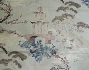 Regal R-ZEN FLAX / Decorative Throw Pillow Cover Euro Pillow Cover / Asian / Chinoiserie / Pagoda