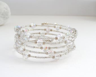Clear Crystal Bangle, Brides Jewellery, Brides Bracelet, Sparkly, Swarovski Crystal, Boho Wedding, Occasion Bracelet, Gift for girls