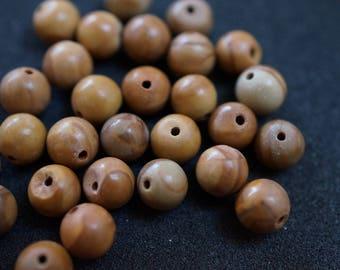 30 beads GEMSTONE 6 mm H2074 Brown