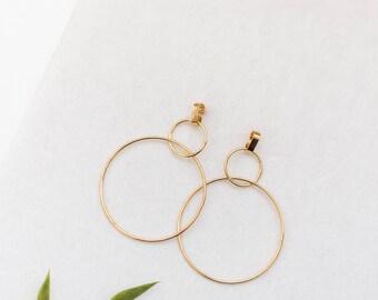 Double hoop earrings, Hoop gold earrings, Minimalist hoop earrings, Gold hoops, Hoops, Gold earrings, Gold hoops