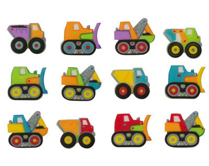 12 Truck Assorted Edible Printed SUGARSOFT Decorations - Molded Sugar SugarSoft Cake / Cupcake Topper Decorations