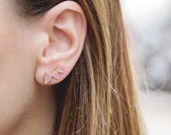 Ear Climber Earring, Quartz Ear Cuff, Rose Gold Piercing, Sterling Silver Ear Crawler, Filled Dainty Earring,Stone Climber,Dainty Ear Jacket