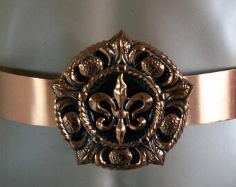 RENOIR Fleur De Lis Mid Century COPPER Belt & Buckle RARE Vintage