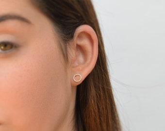 silver earrings,stud earrings,circle earrings,sterling silver,tiny earrings,silver,minimalist earrings - 21190
