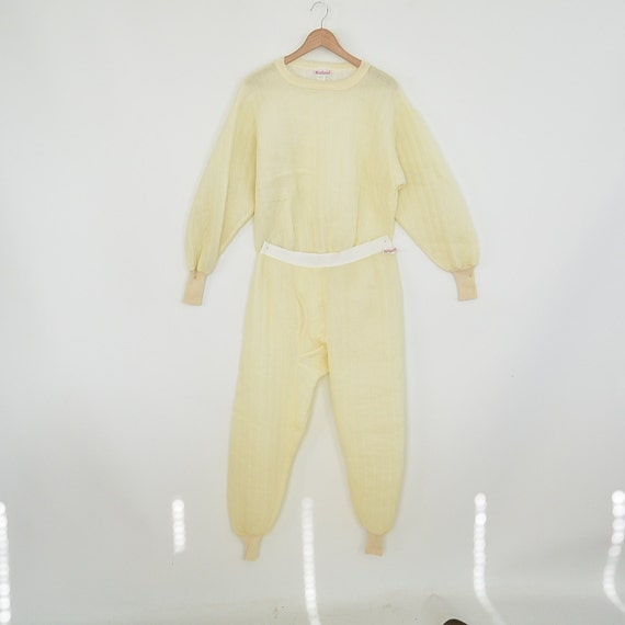 Quilted Thermal Long Johns Set XL Top and Bottom WearGuard Vintage Cream Colored Long Johns Shirt and Pants Like new Nl5eu1o