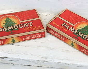 "3 Vintage Christmas Tree Light Sets ""Decorative Lighting Outfit"" In the Box by Paramount"