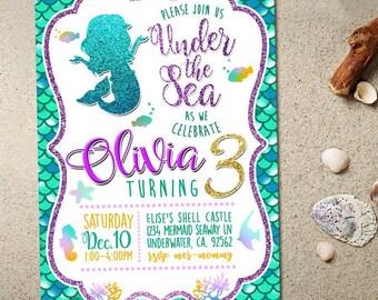 Mermaid Invitation Mermaid Birthday Invitation Mermaid Invitation Under The Sea Invitation Mermaid Birthday Party, Little Mermaid Invitation