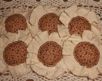 Primitive Mustard Calico Fabric Flowers Ornies Bowl Fillers Set of 6
