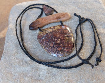 Statement Boulder Opal, wood, Jasper necklace, unique natural macrame jewelry, wearable art handmade in Australia adjustable length
