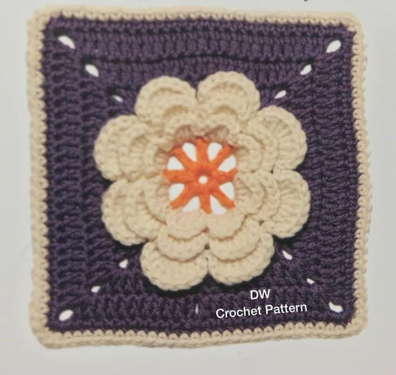 Crochet Flower Granny Square Pdf Crochet Pattern Instant Download
