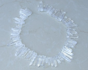 Polished Quartz Points. Full Strand - Polished Crystal Points -  Natural Quartz Points - Random Lengths - 15mm - 35+mm