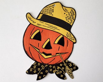 Vintage paper jackolantern Halloween decoration Luhrs orange black pumpkin head scarecrow man wind wall hanging