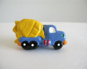 Cement Truck Knob - Dresser Drawer Knob - ceramic pull blue yellow boys room decor