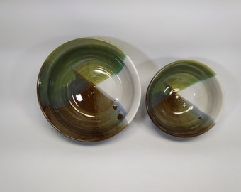 Matching bowls in white, Stormy Blue, and Seaweed food safe glaze