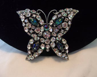 Regency Vintage Estate Diamante Ice Blue Butterfly Brooch Glass Rhinestone Silver Plate Insect Pin