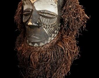 Ethnographic Art Image Series/ Portrait of Kuba Helmet Mask w/Raffia / Tribal Art–African Art / High Res Print/ Fine Art Photography