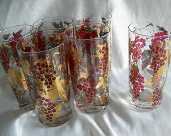 Tumbler Drinking Glasses | Set of 6 Grapes and Gold Motif Tumblers | Vintage
