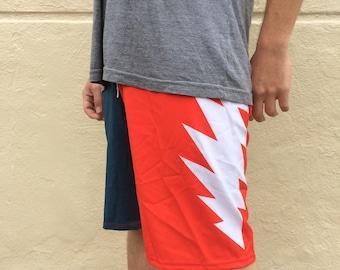 Men's Grateful Dead Board Shorts Swim Trunks / Red, White and Blue Thirteen Point Lightning Bolt / You Enjoy My Shirt