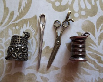 4 Piece Sewing Kit Charms in Antiqued Brass, Silver, Copper & Gold - Scissors, Needle, Spool of Thread Thimble - 1 Set