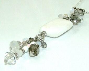 MAJOR MARKDOWN - Elegant Winter White Crystal Clusters and Tassels on Howlite Stone Pendant