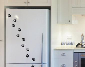 Kat paw prints, vinyl muur kunst stickers stickers - 5 sets - 17 tot en met 200 paw prints per set - WS1030