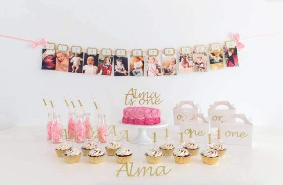Pink and Gold First Birthday Party Decoration Pack