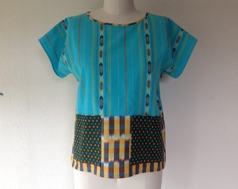 SALE Mia cotton top with pockets- turquoise- Medium