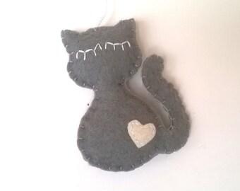 cat ornament for pet parents felt home decor gift idea for her Baby shower wool feltro filz filc black white brown grey orange eco friendly