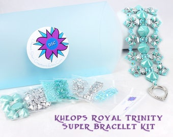 Super Kheops Royal Trinity Cuff Bracelet Bead Kit in Purple or Turquoise, Silky Beads, Super Kheops Par Puca, Beadweaving Bracelet Kit