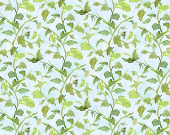 Leaf Vine Fabric - Trailing Vine - Walking on Sunshine by Joanne Porter for Wilmington Prints - 79272 407 Lt Blue - Priced by the half yard
