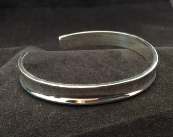 Vintage Sterling Silver 8mm concave Cuff Bangle Bracelet, Ladies Sterling Cuff Bracelet
