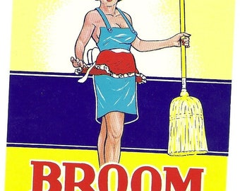 Vintage Woman Broom Label, 1940's