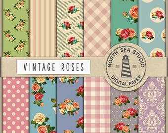 COTTAGE CHIC Vintage Roses Digital Paper Shabby Chic Papers Digital Collage Sheets Rose Flower Shabby Background Floral Paper BUY5FOR8