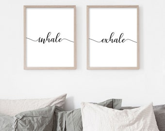Inhale Exhale print, Set of 2 prints, Black and white print, Typography Print, Office Wall Art, Minimalist Poster, Bedroom print, Home decor