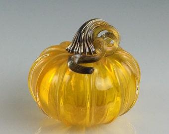 """3.5"""" Glass Pumpkin by Jonathan Winfisky - Transparent Citrus Orange - Hand Blown Glass"""
