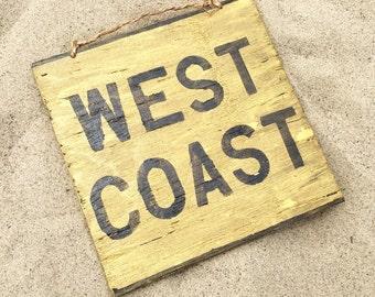 West Coast Wood Sign / California Sign / California Love Sign / Thug Life Sign / Los Angeles Sign / Wall Art / Wall Decor - Gold & Black