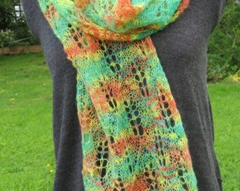 Handspun Alpaca Scarf in Zinging Citrus Colours, Light Lacy Scarf or Wrap Handknitted with Hand spun Alpaca