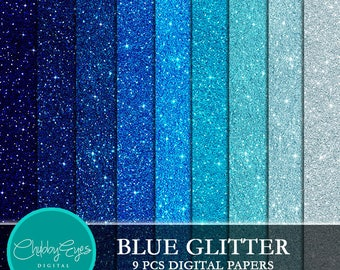 Blue Glitter Digital Papers, Scrapbook Papers Blue Sparkles Clipart , digital background - Instant Download