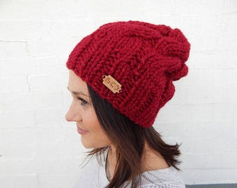 Made to Order: Cabled, Red, Sparkly, Hand Knit Winter Hat - Acrylic/Wool Blend
